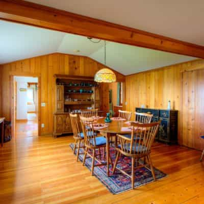 Dining room shows the workmanship that has gone in to this cottage